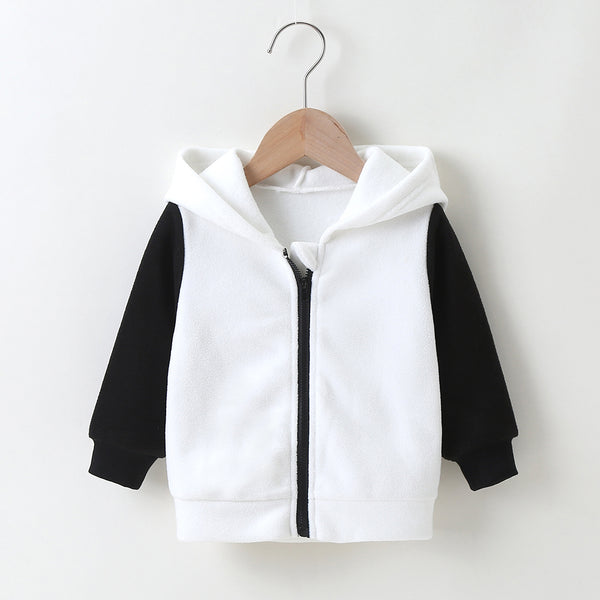 Baby Unisex Color Black Panda Zipper Long Sleeve Hooded Jacket Baby Clothes Warehouse