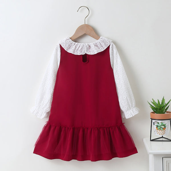 Girls Color Block Hollow Out Long Sleeve Doll Collar Dress Toddler Girl Wholesale Clothing