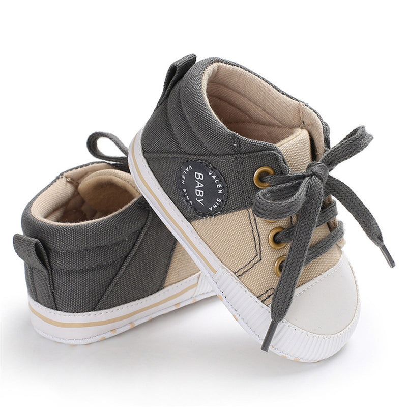 Baby Unisex Color Block Lace Up Canvas Sneakers