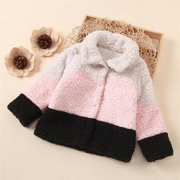 Girls Color Block Lapel Long Sleeve Warm Jacket Wholesale Little Girl Clothing