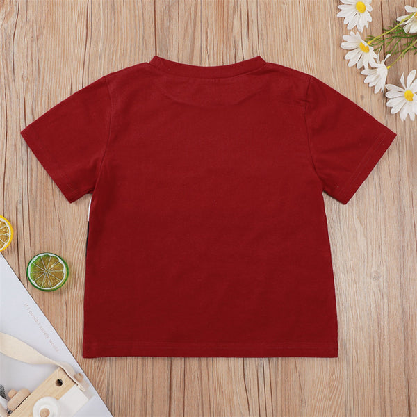 Boys Color Block Letter Printed Short Sleeve T-Shirts wholesale childrens clothing distributors