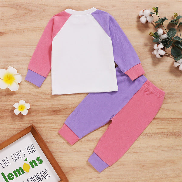 Baby Unisex Color Block Long Sleeve Crew Neck Top & Pants Baby Wholesale Suppliers