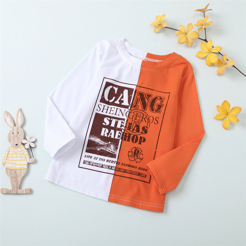 Girls Color Block Long Sleeve Letter Printed T-shirt Girls Boutique Clothes Wholesale