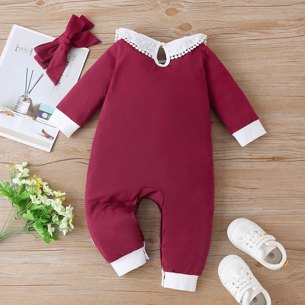 Baby Girls Color Block Long Sleeve Pocket Romper & Headband wholesale infant clothing