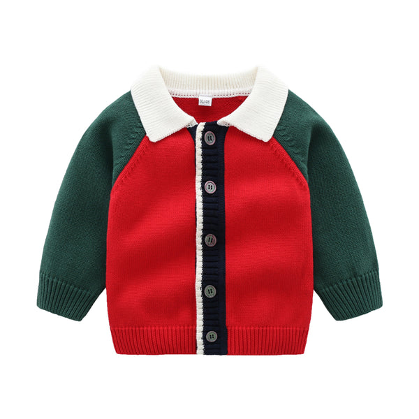 Baby Boys Color Block Long Sleeve Sweaters Baby Clothing Suppliers
