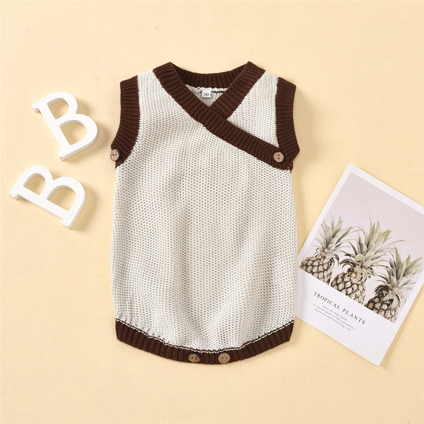 Baby Color Block Sleeveless V-neck Sweaters Baby Clothes Warehouses