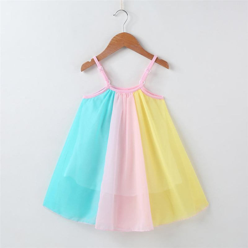 Girls Color Block Splicing Suspender Dress Wholesale Little Girl Boutique Clothing