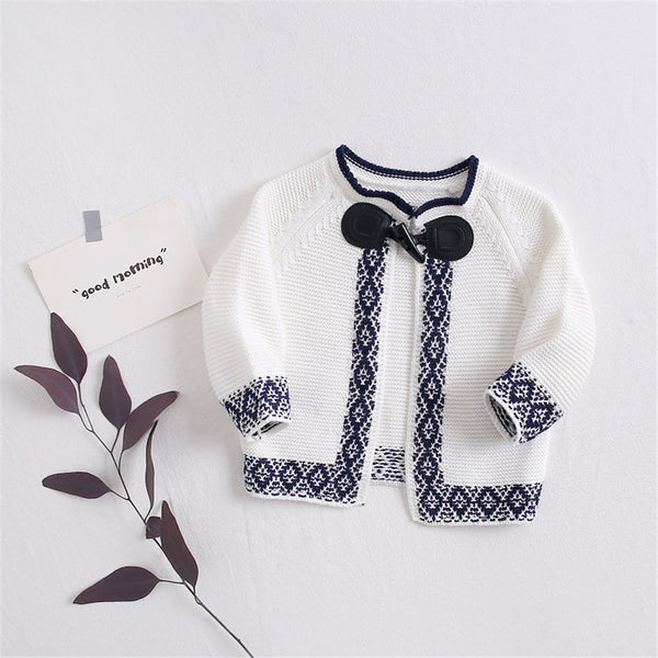Baby Girls Knitted Cardigan Sweaters Long Sleeve Coat