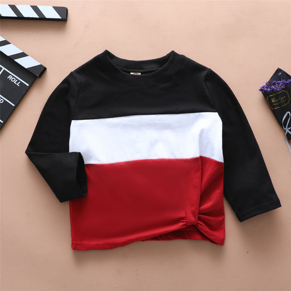 Boys Color Blocking Long Sleeve Casual T-shirt Wholesale Boy Clothing