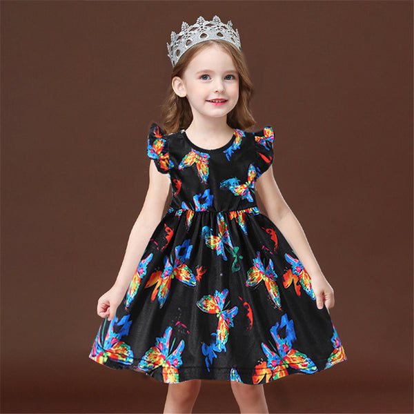 Girls Color Butterfly Printed Sleeveless Crew Neck Dress wholesale children's boutique clothing suppliers