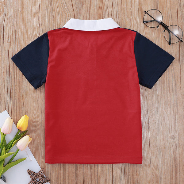Boys Color Contrast Dream Printed Lapel Short Sleeve T-shirt kids clothing vendors