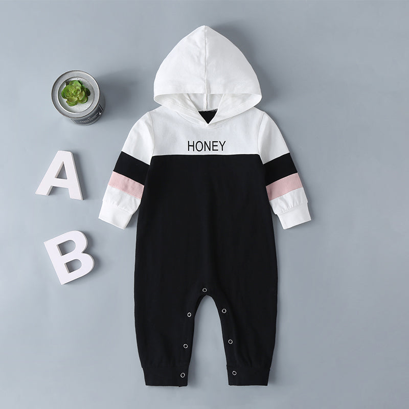 COTTNBABY Baby Boy Color Contrast Hooded Jumpsuit