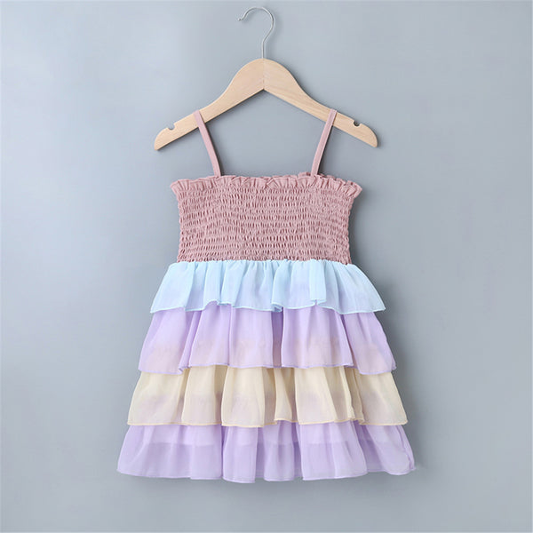 Girls Color Contrast Layered Sling Dress Wholesale Clothing For Children