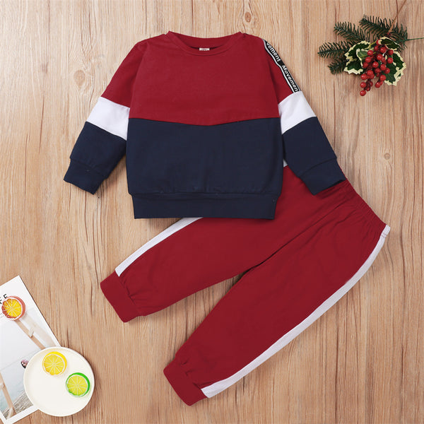 Unsiex Color Contrast Long Sleeve Letter Printed Top & Pants Trendy Kids Wholesale Clothing