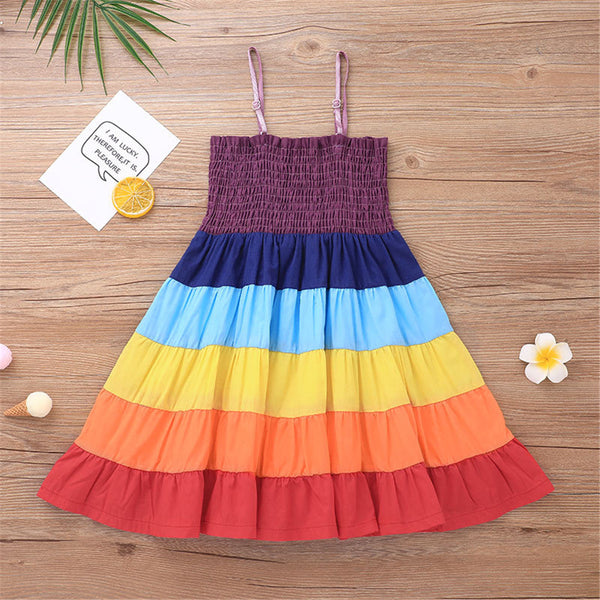 Girls Color Contrast Princess Sling Dress wholesale childrens clothing