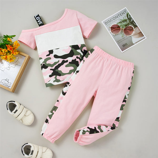 Girls Color Contrast Short Sleeve Camouflage Top & Pants kids wholesale clothing
