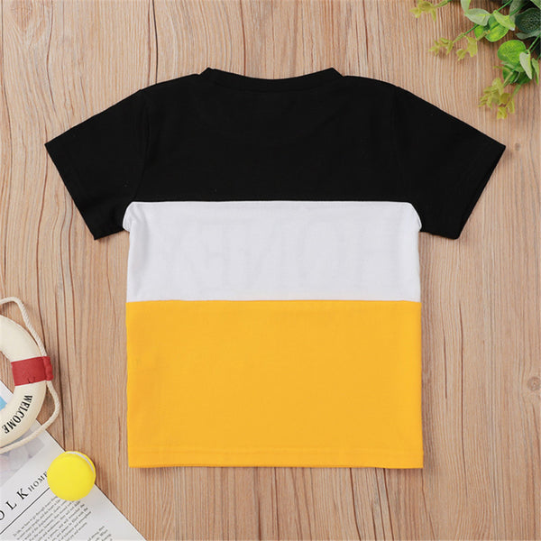 Unisex Color Contrast Short Sleeve Honey Printed Top Wholesale Toddler T Shirts