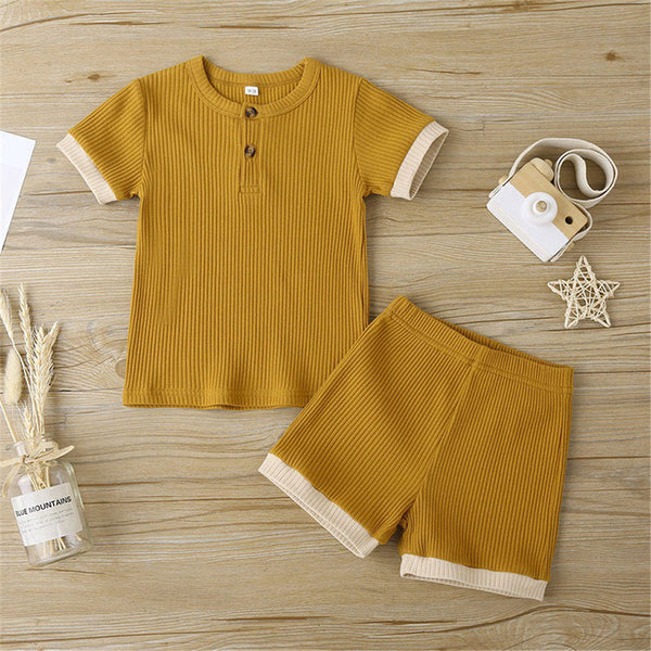 Unisex Color Contrast Short Sleeve Top & Shorts Kids Wholesale Clothing Warehouse