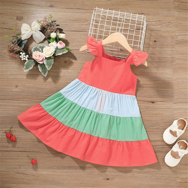 Baby Girls Color Contrast Suspender Dresses baby clothes wholesale usa