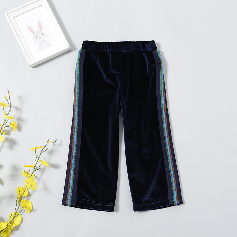 Girls Color Striped Casual Elastic Waist Pants