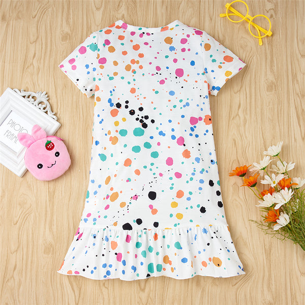 Girls Colorful Polka Dot Printed Short Sleeve Casual Dress Wholesale Little Girl Boutique Clothing