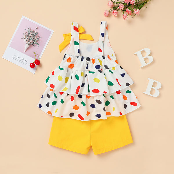 Girls Colorful Polka Dot Printed Sling Top & Shorts Wholesale Childrens Boutique Clothing Suppliers