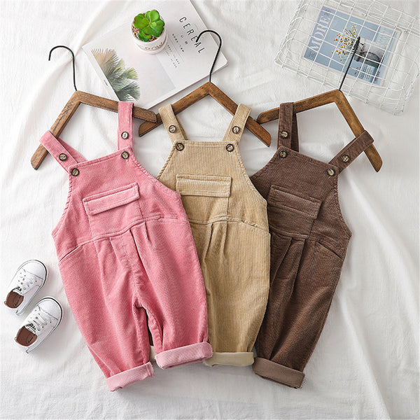 Girls Corduroy Solid Casual Jumpsuits