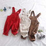 Girls Corduroy Solid Daily Jumpsuits
