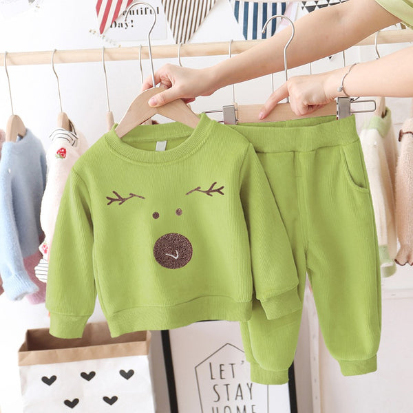 Corduroy Sports Long Sleeve Animal Printed Top & Pants Girls Clothing Wholesale