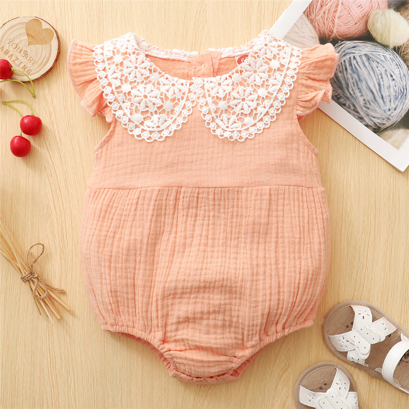 Baby Girls Cotton Lace Collar Sleeveless Romper Wholesale Clothing Baby