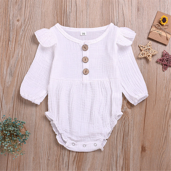 Baby Girl Cotton  Linen Solid Long Sleeve Triangle Rompers