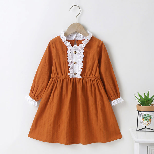 Girls Cotton Long Sleeve Princess Dress Wholesale Girl Boutique Clothing