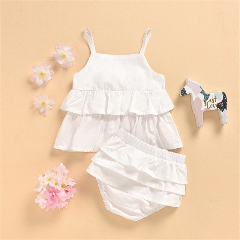 Baby Girls Cotton Solid Color Ruffled Tank Top & Shorts Cheap Boutique Baby Clothing