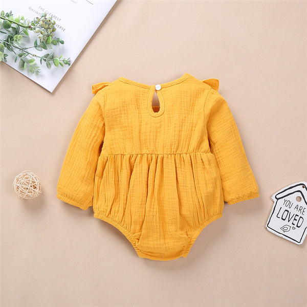 Baby Girls Cotton Solid Long Sleeve Romper Baby Clothes Vendors
