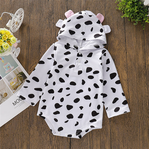Baby Girls Cow Polka Dot Hooded Long Sleeve Romper Wholesale Clothing Baby