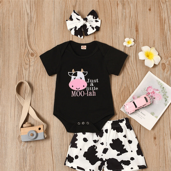 Baby Girls Cows Letter Printed Short Sleeve Romper & Shorts & Headband Wholesale Clothing Baby