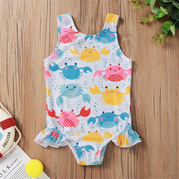 Baby Girls Crab Donuts Cartoon Printed Sling Swimwear Toddler One Piece Swimsuit