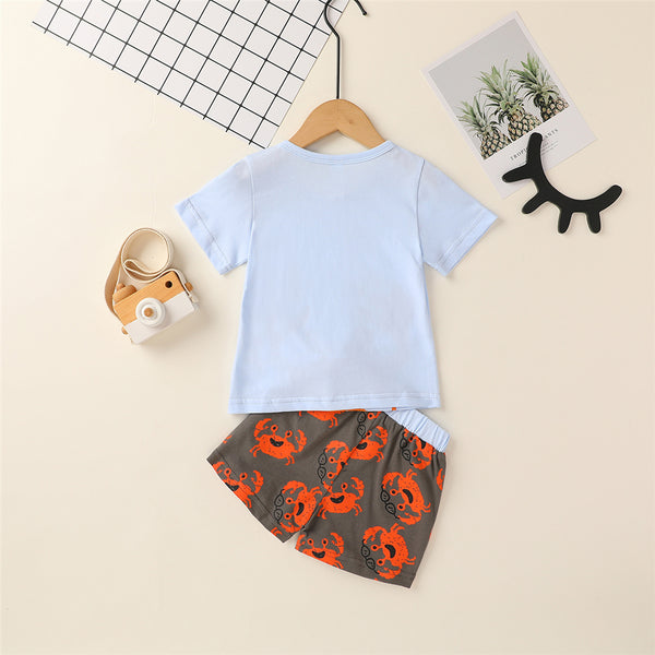 Baby Boys Crab Printed Short Sleeve Top & Shorts Wholesale Baby Clothes In Bulk