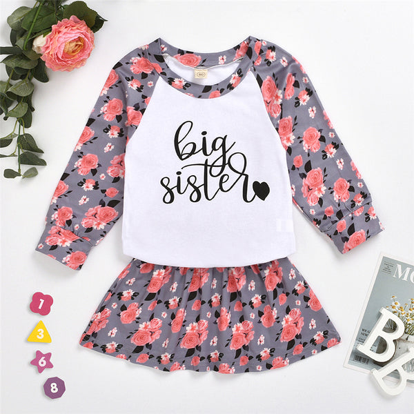 Baby Girls Crew Neck Floral Letter Printed Top & Skirt Wholesale Girls