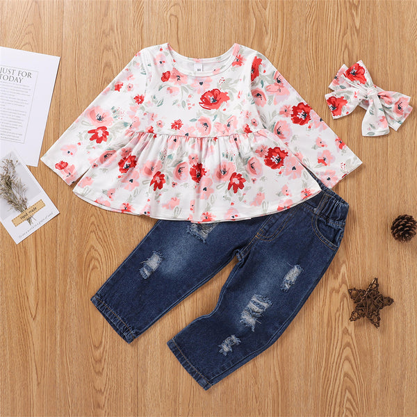 Girls Crew Neck Floral Print Top & Jeans & Headband Toddler Girls Wholesale