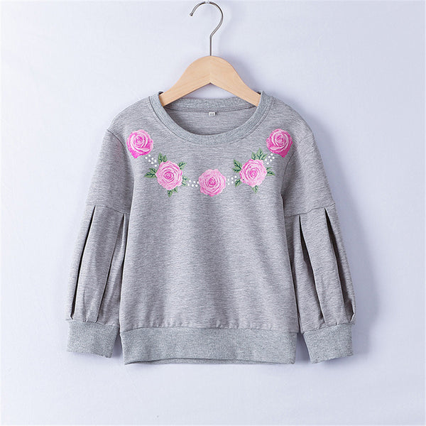 Girls Crew Neck Floral Printed Long Sleeve T-shirt Wholesale Little Girl Boutique Clothing