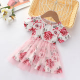 Baby Girls Crew Neck Floral Printed Short Sleeve Mesh Dress Wholesale Clothing For Girls
