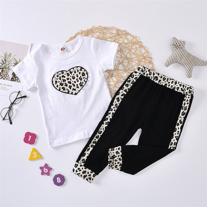 Girls Crew Neck Heart Leopard Printed Short Sleeve Top & Pants Girls Clothes Wholesale