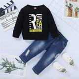 Boys Crew Neck Letter Printed Long Sleeve Top & Ripped Jeans Wholesale Boys Suits