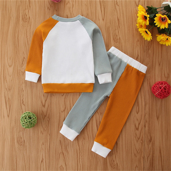 Baby Unisex Crew Neck Long Sleeve Color Contrast Top & Pants Wholesale Baby Clothes Suppliers