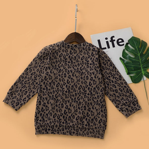 Toddler Girls Crew Neck Long Sleeve Leopard Top Wholesale Girls