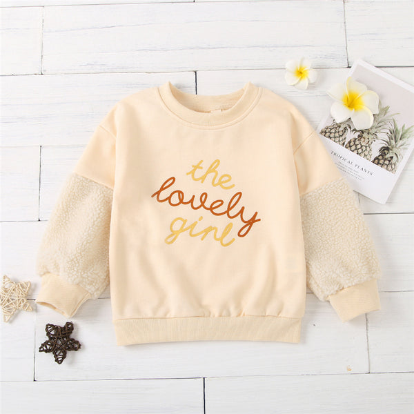 Girls Crew Neck Long Sleeve Letter Splicing T-shirt Girl Wholesale