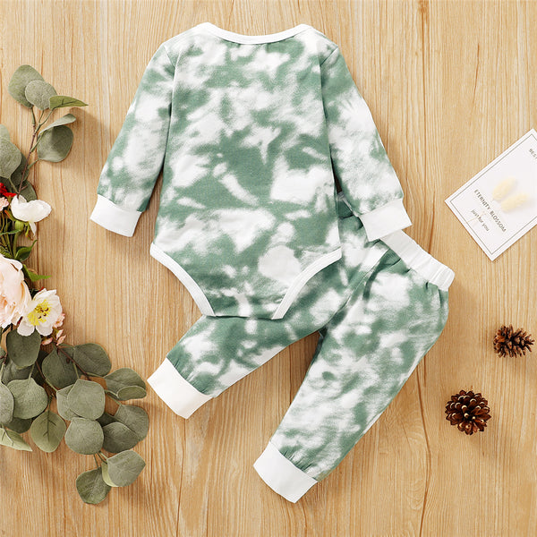 Baby Unisex Crew Neck Long Sleeve Tie Dye Romper & Pants Baby Romper Wholesale
