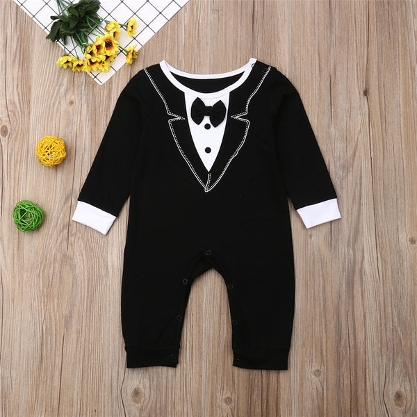 Baby Boys Crew Neck Long Sleeve Tie Rompers