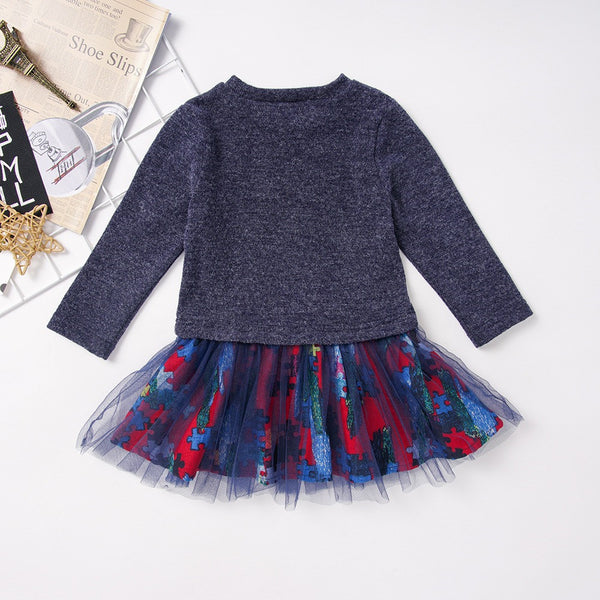 Toddler Girls Crew Neck Long Sleeve Tulle Girl Dress Wholesale